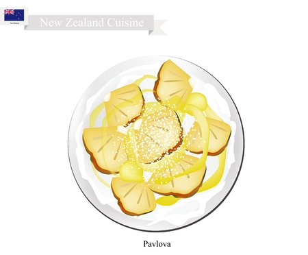 New Zealand Cuisine, Pavlova Meringue Cake Top with Ripe Pineapple. One of Most Popular Dessert in New Zealand.