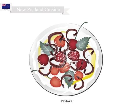 New Zealand Cuisine, Pavlova Meringue Cake Top with Fresh Cherries. One of Most Popular Dessert in New Zealand.