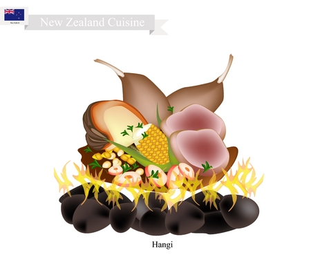 oceania: New Zealand Cuisine, Illustration of Hangi or Traditional Maori Food Using Heated Rocks Buried in A Pit Oven. The Native Dish of New Zealand.