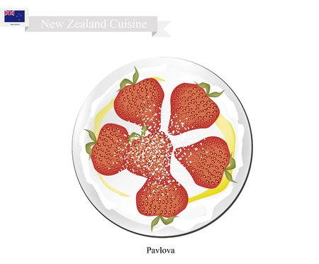 New Zealand Cuisine, Pavlova Meringue Cake Top with Fresh Strawberries. One of Most Popular Dessert in New Zealand.