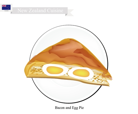 savory: New Zealand Cuisine, Traditional Bacon and Egg Pie. One of Most Popular Dish in New Zealand.
