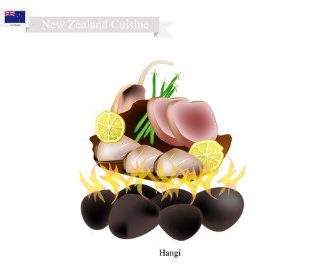 fire pit: New Zealand Cuisine, Illustration of Hangi or Traditional Maori Food Made of Meat and Vegetables Cooked in Earth Oven Using Hot Rocks and Steam. The Native Dish of New Zealand.