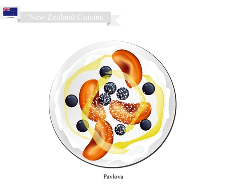 New Zealand Cuisine, Pavlova Meringue Cake Top with Blueberries and Apricot. One of Most Popular Dessert in New Zealand. Illustration