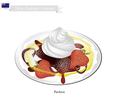 New Zealand Cuisine, Pavlova Meringue Cake Top with Fresh Strawberries. One of Most Popular Dessert in New Zealand.