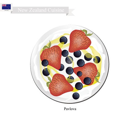 New Zealand Cuisine, Pavlova Meringue Cake Top with Fresh Strawberries and Blackcurrants. One of Most Popular Dessert in New Zealand.