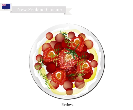 New Zealand Cuisine, Pavlova Meringue Cake Top with Strawberries and Redcurrants. One of Most Popular Dessert in New Zealand.