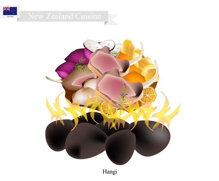ニュージーランド料理、ハンギの伝統的なマオリ料理イラスト ホット岩と蒸気を使用して地球のオーブンで調理した野菜や肉の作った。ニュージー