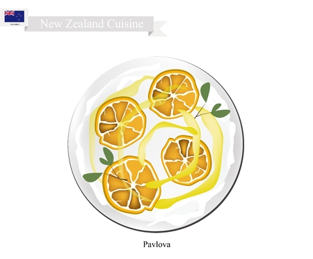 meringue: New Zealand Cuisine, Pavlova Meringue Cake Top with Ripe Oranges. One of Most Popular Dessert in New Zealand.
