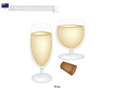 New Zealand Cuisine, White Wine Is A Traditional Alcoholic Beverage. One of The Most Popular Drink in New Zealand.