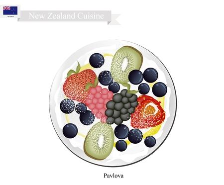 meringue: New Zealand Cuisine, Pavlova Meringue Cake Top with Fresh Berry Fruits. One of Most Popular Dessert in New Zealand.