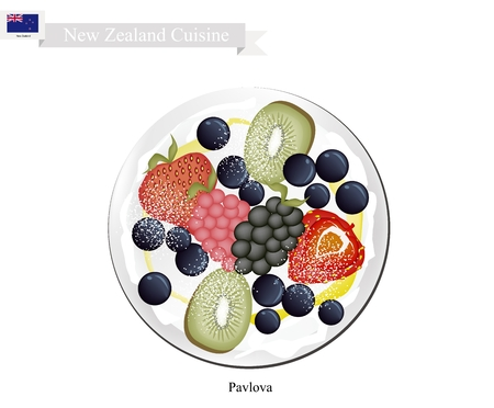 New Zealand Cuisine, Pavlova Meringue Cake Top with Fresh Berry Fruits. One of Most Popular Dessert in New Zealand.
