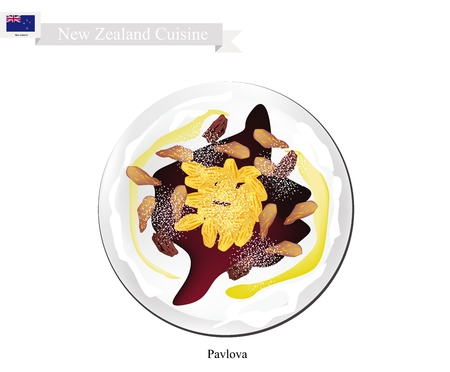 New Zealand Cuisine, Pavlova Meringue Cake Top with Raisins. One of Most Popular Dessert in New Zealand.
