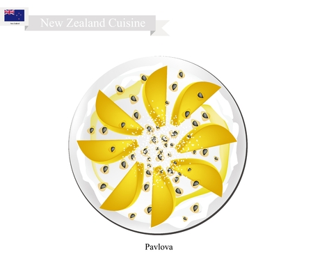 New Zealand Cuisine, Pavlova Meringue Cake Top with Ripe Mangoes. One of Most Popular Dessert in New Zealand.