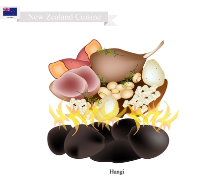 New Zealand Cuisine, Illustration of Hangi or Traditional Maori Food Made of Meat and Vegetables Cooked in Earth Oven Using Hot Rocks and Steam. The Native Dish of New Zealand.