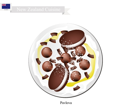 meringue: New Zealand Cuisine, Pavlova Meringue Cake Top with Chocolate Cookies and Candies. One of Most Popular Dessert in New Zealand. Illustration