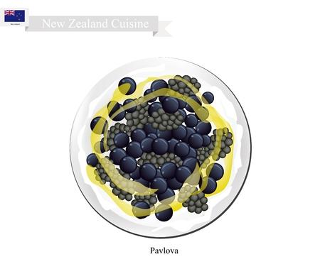 meringue: New Zealand Cuisine, Pavlova Meringue Cake Top with Blackberries and Blueberries. One of Most Popular Dessert in New Zealand.