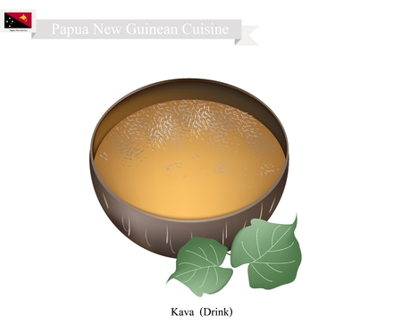 papua new guinea: Papua New Guinean Cuisine, Illustration of Kava Drink or Traditional Beverage Made From The Roots of The Kava Plant Mixed with Water. One of The Most Popular Drink in Papua New Guinea.