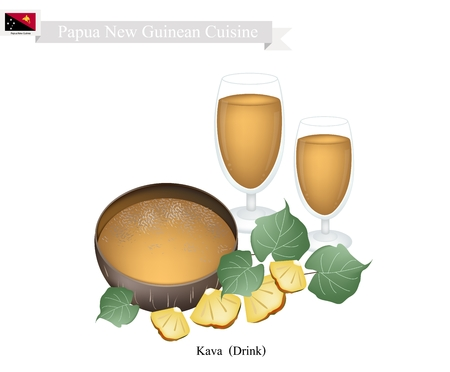 papua new guinea: Papua New Guinean Cuisine, Illustration of Kava or Traditional Beverage Made From The Roots of Kava Plant Mixed with Water. One of The Most Popular Drink in Papua New Guinea.
