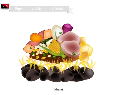 Papua New Guinean Cuisine, Illustration of Mumu or Traditional Maori Food Using Heated Rocks Buried in A Pit Oven. The Native Dish of Papua New Guinea. Illustration
