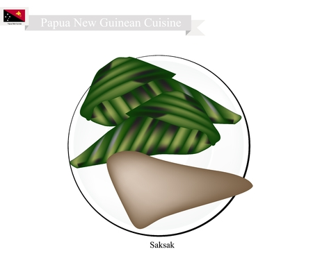 Papouasie-Nouvelle-Guinée Cuisine, Saksak ou traditionnelle Tapioca et Banana Dumplings à Coconut remplissage de lait dans les chefs Banana Leaf. L'un des plus populaires Desserts en Papouasie-Nouvelle-Guinée.