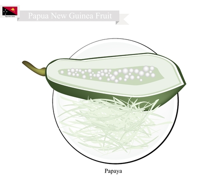 new guinea: Papua New Guinea Fruit, Illustration of Papaya. One of The Most Famous Fruits in Papua New Guinea.