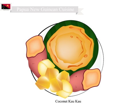 Papua New Guinean Cuisine, Coconut Kau Kau or Traditional Baked Sweet Potato with Coconut Cream. One of Most Popular Desserts in Papua New Guinea. Illustration