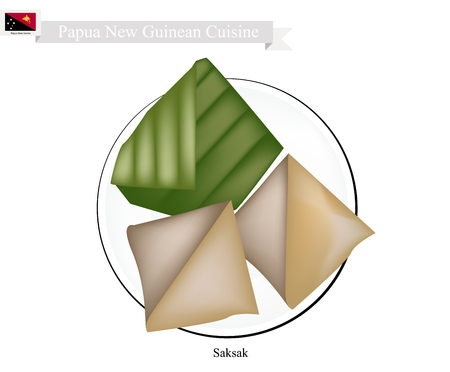 sweetmeat: Papua New Guinean Cuisine, Saksak or Traditional Tapioca and Banana Dumplings in Coconut Milk Filling in Counts Banana Leaf. One of Most Popular Desserts in Papua New Guinea.
