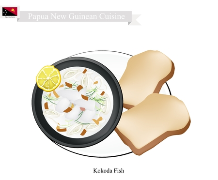Papua New Guinean Cuisine, Kokoda or Traditional Raw Fish Marinated in Citrus Juice and Coconut Cream Serve with Toast. One of The Most Popular Dish in Papua New Guinea. Illustration