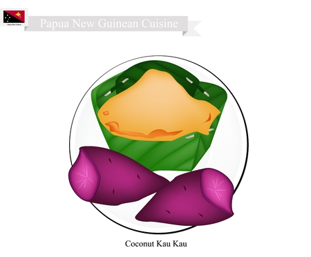 most popular: Papua New Guinean Cuisine, Coconut Kau Kau or Traditional Baked Sweet Potato with Coconut Cream. One of Most Popular Desserts in Papua New Guinea. Illustration