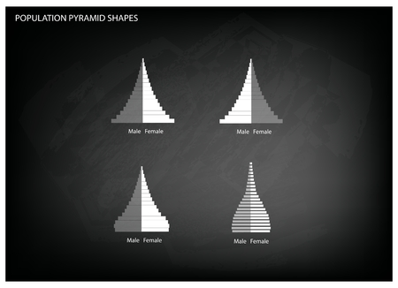 Population and Demography, Illustration of 4 Types of Population Pyramids Chart or Age Structure Graph on Black Chalkboard Background. Illustration