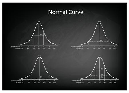 bell curve: Business and Marketing Concepts, Illustration Set of 4 Gaussian Bell Curve or Normal Distribution Curve on Black Chalkboard Background. Illustration