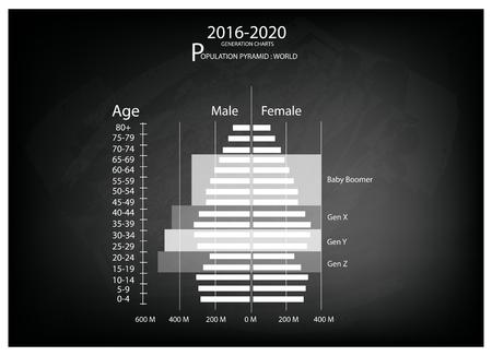 demografia: Población y Demografía, Población Gráfico Ilustración de pirámides o Edad Gráfico Estructura con Baby Boomers Generación, Generación X, Generación Y y Z Gen de 2016 a 2020. Vectores