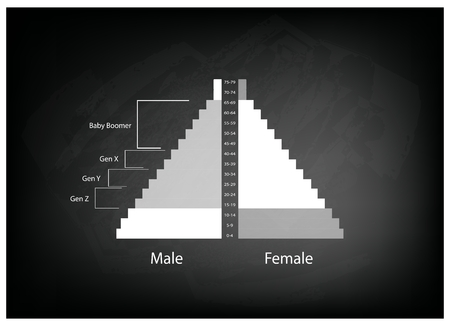 boomers: Population and Demography, Illustration of Population Pyramids Chart or Age Structure Graph with Baby Boomers Generation, Gen X, Gen Y and Gen Z. Illustration