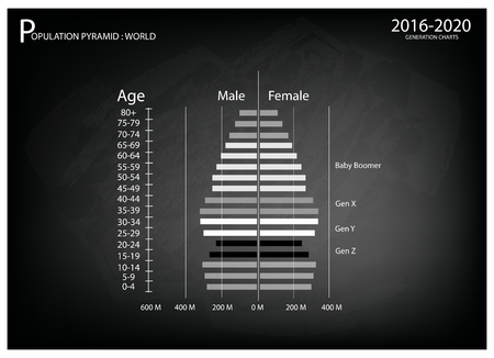 demography: Population and Demography, Illustration of Population Pyramids Chart or Age Structure Graph with Baby Boomers Generation, Gen X, Gen Y and Gen Z in 2016 to 2020.