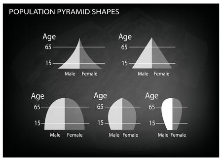 demografia: Población y Demografía, Ilustración Conjunto de 5 Tipos de pirámides de población Gráfico o Gráfico Edad Estructura en el fondo Negro pizarra.