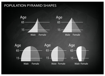 hape: Population and Demography, Illustration Set of 5 Types of Population Pyramids Chart or Age Structure Graph on Black Chalkboard Background.