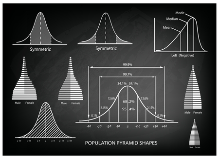size distribution: Business and Marketing Concepts, Illustration of Standard Deviation Diagram, Gaussian Bell or Normal Distribution Curve Population Pyramid Chart for Sample Size Determination.