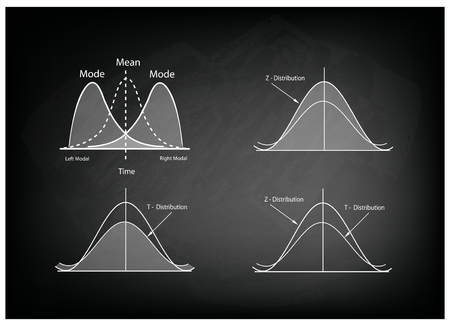 Business and Marketing Concepts, Illustration Collection of Positve and Negative Distribution Curve or Normal Distribution Curve and Not Normal Distribution Curve on Black Chalkboard Background. 矢量图像