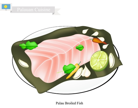 banana leaf: Palauan Cuisine, Illustration of Traditional Broiled Fish Made of Fish Cooked with Garlic, Ginger and Banana Leaf. A Popular Dish of Palau.