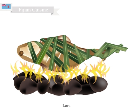 pit: Fijian Cuisine, Illustration of Lovo or Traditional Food Made From Meat, Fish and Vegetables are Wrapped in Banana Leaves or Palm Leaves Cooked on Heated Stones. The Native Dish of Fiji. Illustration