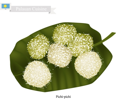 philippino: Palauan Cuisine, Pichi-Pichi or Traditional Palauan Dessert Made of Grated Cassava, Sugar, Water and Pandan Essence Coated with Grated Coconut. One of The Most Famous Dessert in Palau.