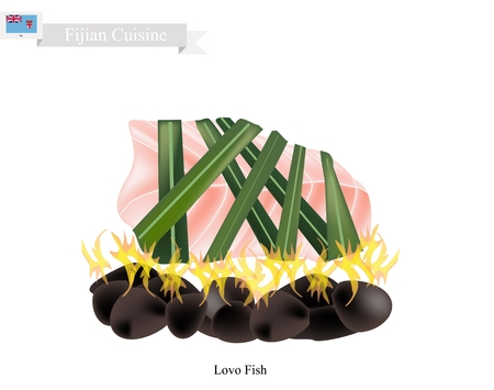 banana leaf food: Fijian Cuisine, Illustration of Lovo or Traditional Food Made From Meat, Fish and Vegetables are Wrapped in Banana Leaves or Palm Leaves Cooked on Heated Stones. The Native Dish of Fiji. Illustration