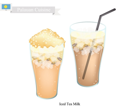 ice tea: Palauan Cuisine, Traditional Ice Tea Served with Milk. One of The Most Popular Drink in Palau.