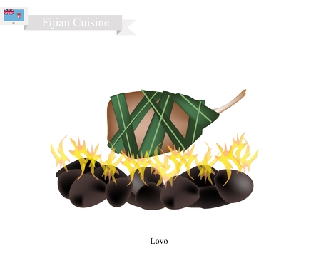 Fijian Cuisine, Illustration of Lovo or Traditional Food Made From Meat and Vegetables are Wrapped in Banana Leaves or Palm Leaves Cooked on Heated Stones. The Native Dish of Fiji. Illustration