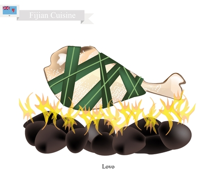 heated: Fijian Cuisine, Illustration of Lovo or Traditional Food Made From Meat and Vegetables are Wrapped in Banana Leaves or Palm Leaves Cooked on Heated Stones. The Native Dish of Fiji. Illustration