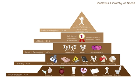 homeostasis: Social and Psychological Concepts, Illustration of Maslow Pyramid Diagram with Five Levels Hierarchy of Needs in Human Motivation. Illustration