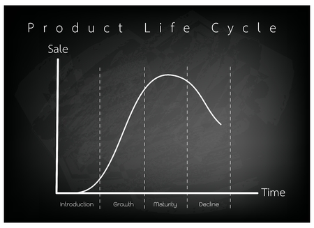 Business and Marketing Concepts, 4 Stage of Product Life Cycle Chart on Black Chalkboard.