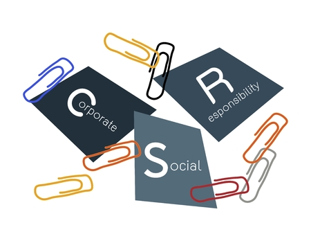 conscience: Business Concepts, Paper Clips with CSR Abbreviation or Corporate Social Responsibility Achieve Notes.