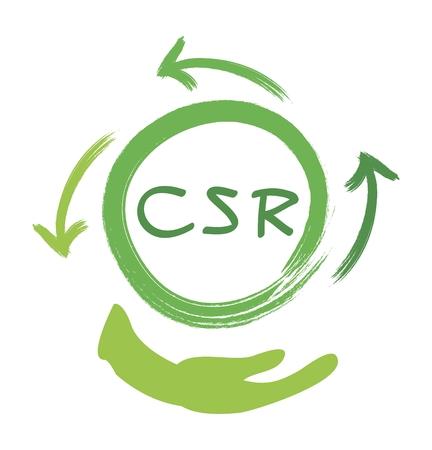 Geschäftskonzepte, Recycling-Symbol mit CSR-Abkürzung oder Corporate Social Responsibility Notizen.
