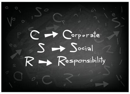 conscience: Business Concepts, CSR Abbreviation or Corporate Social Responsibility on A Blackboard. Illustration